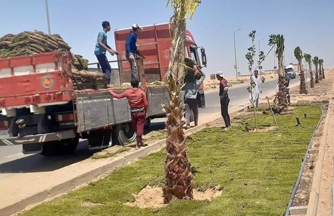 بدء تنفيذ مشروع رفع كفاءة وصيانة المسطحات الخضراء للمناطق السكنية بمساحة 93 فدانا بمدينة الشروق  صور