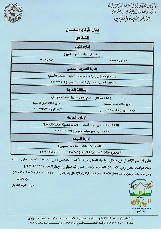 هام.. جهاز مدينة الشروق ينشر بيان بأرقام شكاوي الكهرباء والماء والصرف الصحي