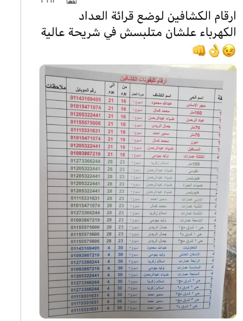 أرقام موظفين قراءات عدادات الكهرباء بمدينة الشروق