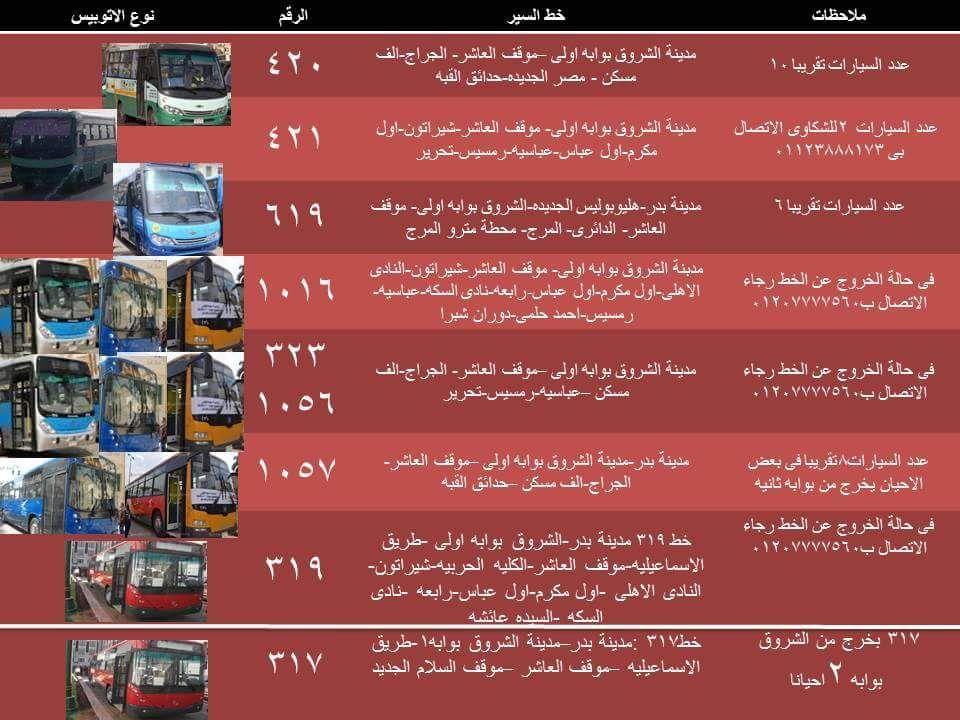 تحديث تعرف علي خطوط أتوبيسات النقل العام لمدينة الشروق